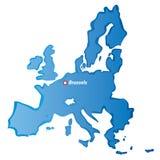 Vektor gezeichnete Grenzen und Brüssel der Europäischen Gemeinschaft Lizenzfreie Stockfotografie