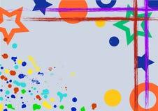 Vektor gezeichneter Hintergrund mit Rahmen, Grenze Schmutzschablone mit Spritzen, Sprayabreibung, Sprünge Im altem Stil Weinlesed stock abbildung