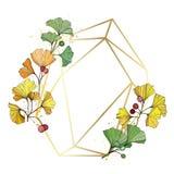 vektor Ginkgoblad Guld- kristall för ram Geometrisk ädelsten för ametist för form för mosaik för polyhedron för sten för kvartspo vektor illustrationer