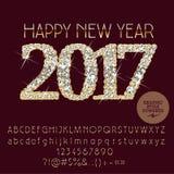 Vektor-glänzende guten Rutsch ins Neue Jahr-Grußkarte 2017 Stockfotos