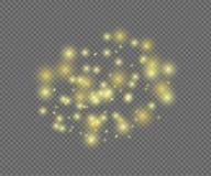 Vektor-glänzende magische Lichter auf transparentem Hintergrund lizenzfreie abbildung