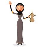 Vektor - glückliche arabische Frau, die einen arabischen Kaffeetopf hält und ihr Handisolat auf weißem Hintergrund wellenartig be Lizenzfreie Stockfotografie