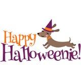 Vektor glückliche Halloweenie-Dachshund-Halloween-Phrasen-Illustration lizenzfreie stockbilder