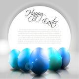 Vektor-glücklicher Hintergrund mit blauen Eiern Stockbilder