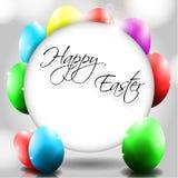 Vektor-glücklicher Hintergrund mit bunten Eiern Stockbilder