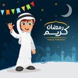 Vektor-glücklicher moslemischer Araber Khaliji-Junge, der Djellaba trägt stockfotografie