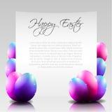 Vektor-glücklicher Ostern-Buchstabe mit purpurroten Eiern Stockbild