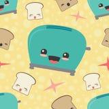 Vektor-glücklicher Toaster-Toast-nahtloser Muster-Hintergrund Lizenzfreies Stockfoto