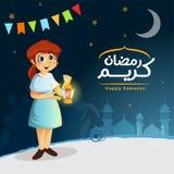 Vektor-glückliches moslemisches Mädchen, das Ramadan Lantern hält stockbilder