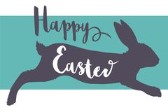 Vektor-glückliches Ostern-Typografieguss-Grußkartenmotiv mit springendem Kaninchenschattenbild vektor abbildung