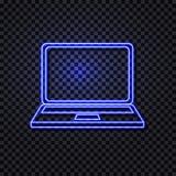 Vektor-glühende Neonlaptop-Ikone, lokalisiert auf dunkler transparenter Hintergrund-Illustration vektor abbildung