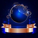 Vektor, glansig etikett för runda med en guld- kant och guld- skinande band royaltyfri illustrationer