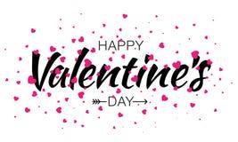 Vektor-glücklicher Valentinsgruß-Tagesbeschriftungs-Karten-Hintergrund mit rosa Herzen Stockfoto