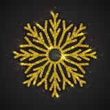 Vektor-goldene funkelnde Schneeflocke lizenzfreie abbildung