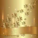 Vektor-goldene Platte mit Schneeflocken und golden lizenzfreie abbildung