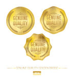 Vektor-goldener Qualitäts-Ausweis Lizenzfreies Stockfoto