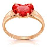 Vektor-goldener Ring mit Rubin Stockfotografie