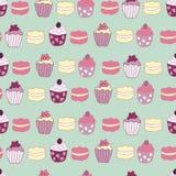Vektor-Grün-Garten Tea Party backen nahtlosen Muster-Hintergrund zusammen lizenzfreie abbildung