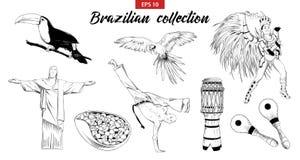 Vektor gravierte Artillustration für Logo, Emblem, Aufkleber oder Plakat Handgezogener Skizzensatz des brasilianischen Karnevalst vektor abbildung