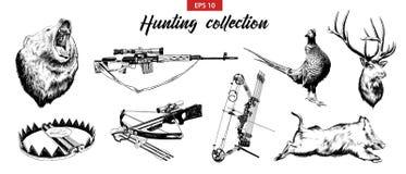 Vektor gravierte Artillustrationen für Plakate, Logo, Emblem und Ausweis Handgezogener Skizzensatz Jagd der Sportausrüstung, Waff stock abbildung