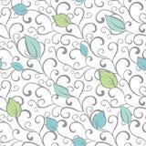 Vektor-Gray Green Blue Swirl Branches-Blätter Stockfotos