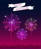 Vektor: Guten Rutsch ins Neue Jahr-Fahne mit Feuerwerk über der Stadt Lizenzfreie Stockbilder