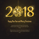 Vektor 2018 guten Rutsch ins Neue Jahr und frohe Weihnachten Stockbild