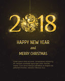 Vektor 2018 guten Rutsch ins Neue Jahr und frohe Weihnachten Stockbilder