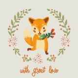 Vektor-Gutschein mit Fuchs und Blumen Stockbild