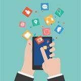 Vektor-Hände, die ein intelligentes Telefon berühren Lizenzfreie Stockfotos