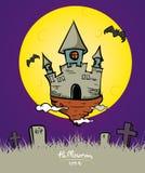 Vektor: Halloween-Schloss mit Vollmond und Schlägerplakat Lizenzfreies Stockfoto