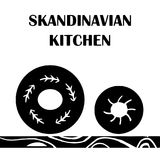 Vektor hand-dragen affisch i stilen av `-Hygge ` med en bild av en platta i skandinaviska folk modeller Vektor Illustrationer