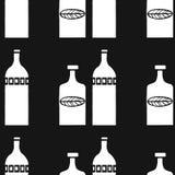 Vektor hand-dragen affisch i stilen av `-Hygge ` och en modell med flaskor med folk modeller Vektor Illustrationer