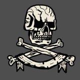 Vektor hand-dragen illustration av en piratkopieraskalle Arkivbild