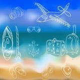 Vektor hand-dragen uppsättning av symboler och sommarsemestern på en backgrou stock illustrationer