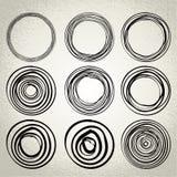 Vektor: hand drog cirklar, designbeståndsdelar Arkivbild