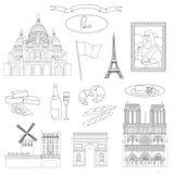 Vektor hand-drog Paris gränsmärken royaltyfri illustrationer