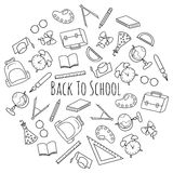 Vektor-Hand gezeichneter Satz Schulbedarf Lizenzfreies Stockbild