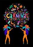 Vektor-Handgezogene Carnaval-Beschriftung Karnevals-Titel mit bunten Partei-Elementen, Konfettis und dansing Brasilien-Samba stock abbildung