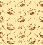 Vektor-Handgezogene Skizze der nahtlosen Musterillustration des Teemusters auf weißem Hintergrund lizenzfreie abbildung