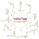 Vektor Hatha-Yoga-Surya Namaskar-asanas Stockbilder