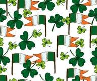 Vektor-Heiliges Patricks-Tagesnahtloses Muster Klee, Shamrock, Stockfotos