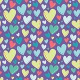 Vektor-helle bunte Herz-purpurrotes nahtloses Muster Stockfotografie