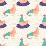 Vektor-helle Sahnehennen-nahtloser Muster-Hintergrund Stockfotografie
