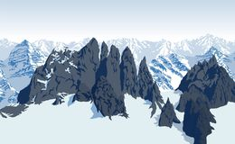 Vektor-Himalaja-Alpengebirgshintergrund lizenzfreie abbildung