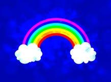 Vektor-Himmel mit Regenbogen-glühender Illustration, glänzender Hintergrund stock abbildung