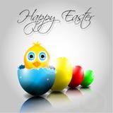 Vektor-Hintergrund mit glücklichen bunten Eiern und Chi Lizenzfreies Stockfoto