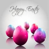 Vektor-Hintergrund mit glücklichen purpurroten Eiern Stockfotografie