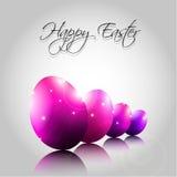 Vektor-Hintergrund mit glücklichen purpurroten Eiern Lizenzfreies Stockfoto