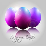 Vektor-Hintergrund mit glücklichen purpurroten Eiern Stockfoto